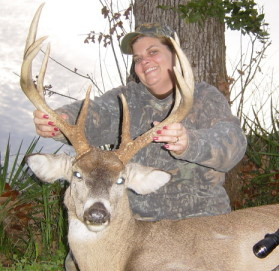 Sharon took down this buck with one clean shot.
